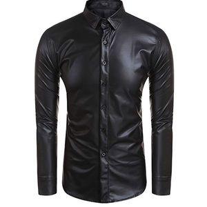 Black faux leather shiny club rave dance shirt